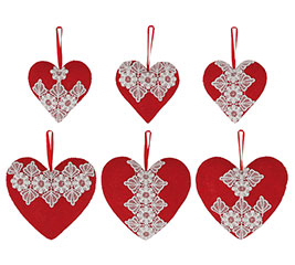 ORN RED BURLAP HEARTS WITH LACE ASTD