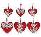 VALENTINE ORNAMENTS RED BURLAP HEARTS