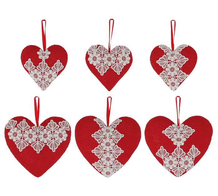Valentine Ornaments Red Burlap Hearts