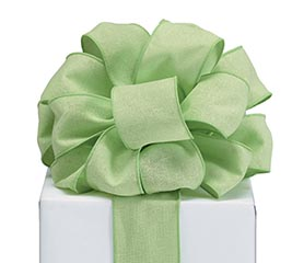 RIBBON #40 LIME GREEN LINEN LIKE