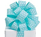 RIBBON #9 AQUA WHITE GLITTER CIRCLES