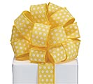 RIBBON #9 YELLOW WHITE GLITTER CIRCLES