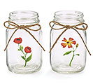 PINT MASON JAR CLEAR WITH FLOWERS