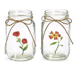 QUART MASON JAR CLEAR WITH FLOWERS