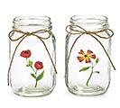 QUART MASON JAR CLEAR WITH FLOWERS