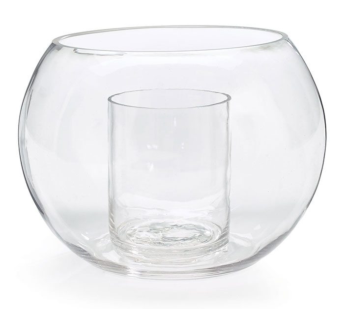 DOUBLE GLASS VASE CLEAR GLOBE SHAPE