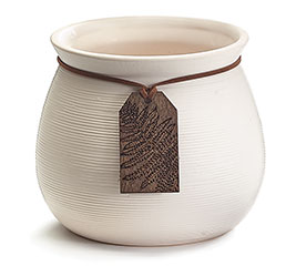 WHITE RIBBED PLANTER WITH WOOD TAG