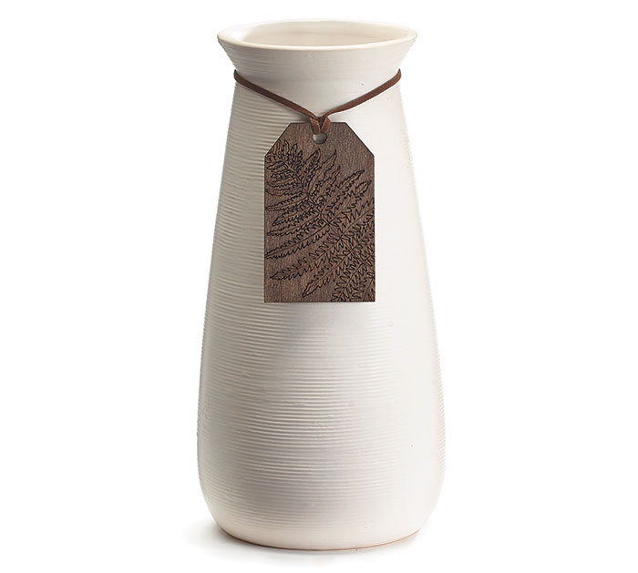 WHITE RIBBED VASE WITH WOOD TAG