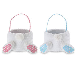 BASKET BUNNY BUTT WITH PINK POLKA DOTS