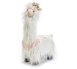STANDING LONG HAIR LLAMA WITH HAT DECOR