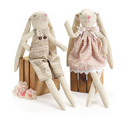 "16"" NATURAL LINEN BUNNY COUPLE"