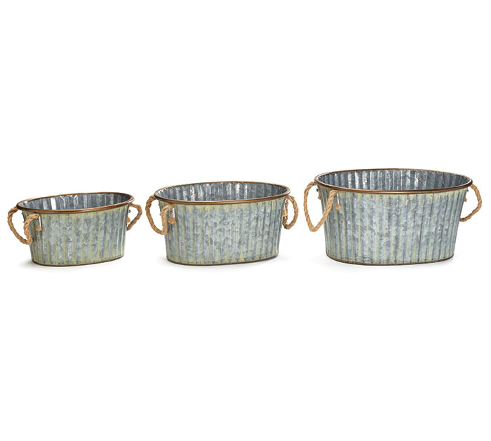 GALVANIZED NESTED PLANTERS ROPE HANDLES