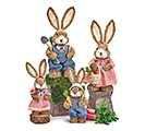 4 PIECE SISAL BUNNY FAMILY