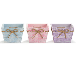 SPRING WOOD PLANTER SET WITH TWINE BOWS