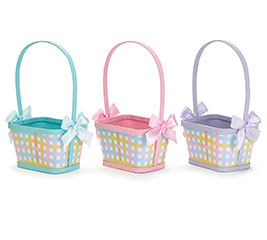 PLAID BASKET ASSORTMENT WITH BOWS