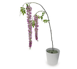 """45"""" PURPLE WISTERIA STEM WITH TWO BLOOMS"""