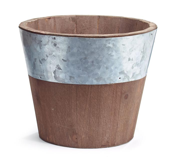 NATURAL WOOD POT COVER WITH TIN BAND