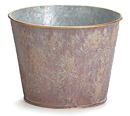 TEXTURED BROWN POT COVER WITH GOLD TRIM
