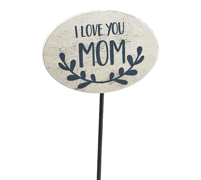 I LOVE YOU MOM RUSTIC OVAL WOOD PICK