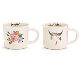 MUG BLISSFUL BOHO FLORAL AND COW SKULL