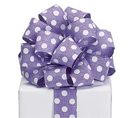 RIBBON #9 PURPLE WITH WHITE DOTS