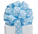 RIBBON #9 WHITE DOTS ON LIGHT BLUE