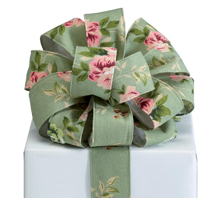 #16 SAGE GREEN RIBBON WITH FLORAL PRINT
