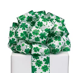RIBBON #40 SHAMROCKS WITH GLITTER ACCENT