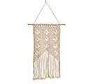 MACRAME WALL HANGING WOODEN BEAD ACCENT