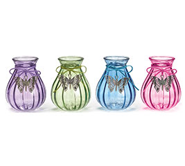 SMALL GLASS VASE SPRING COLORS BUTTERFLY