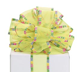RIBBON #40 YELLOW SHEER COLORFUL EDGE