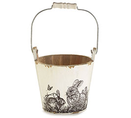SKETCHED BUNNY SCENE WOODEN PAIL