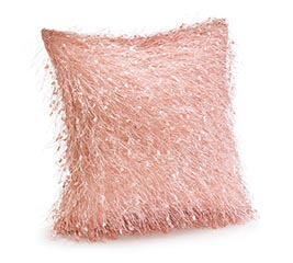 "11"" ROSE PINK PILLOW WITH THREAD DESIGN"