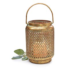 RUSTIC GOLD LIGHTED LANTERN