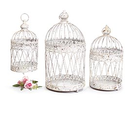 DISTRESSED WHITE BIRD CAGE NESTED SET