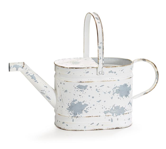 DISTRESSED WHITE WATERING CAN