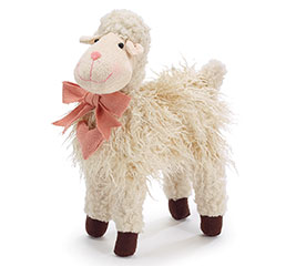 PLUSH DECOR LONG HAIR LAMB WITH FLOWERS