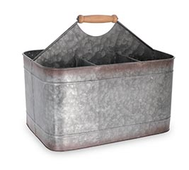 GALVANIZED TIN CADDY PLANTER