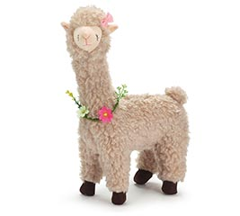 DECOR PLUSH NATURAL LLAMA WITH FLOWERS