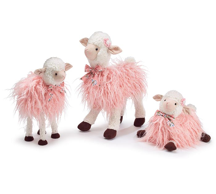 DECOR ASTD LAMBS WITH LONG PINK FUR