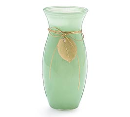 GREEN OPAQUE VASE WITH GOLD LEAF