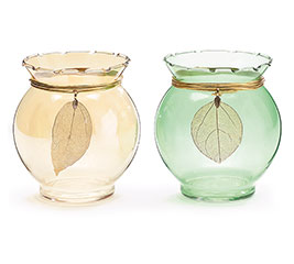 SHORT ROUND GLASS VASE GOLD/GREEN LEAF