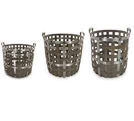 NESTED WOOD  METAL BASKET SET