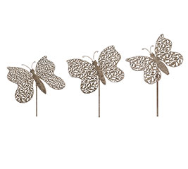 RUSTIC METAL BUTTERFLY YARD STAKE SET