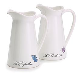 ASSORTED BUTTERFLY DECAL PITCHER