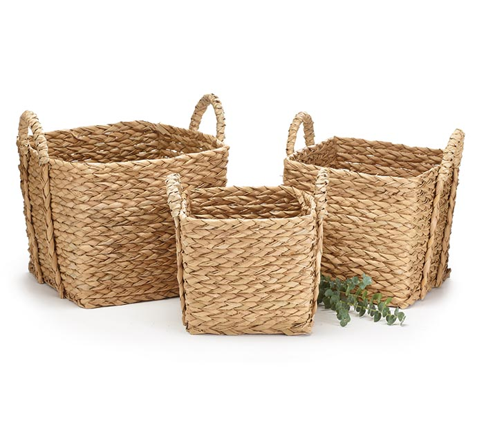 SQUARE TALL SEAGRASS BASKET SET/3