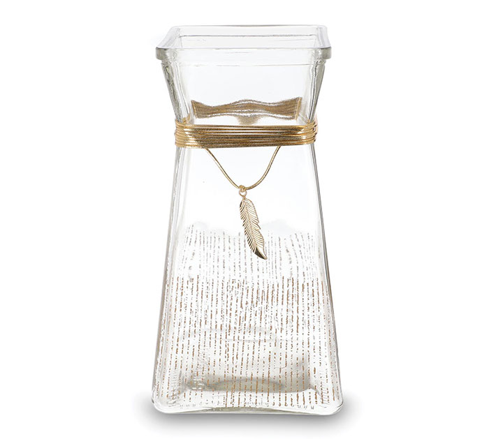 VASE GLASS SQUARE GOLD LINES AND FEATHER