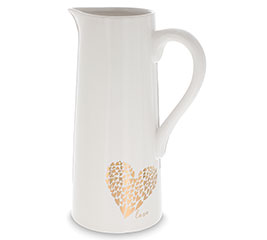 WHITE PITCHER WITH GOLD METALLIC HEARTS
