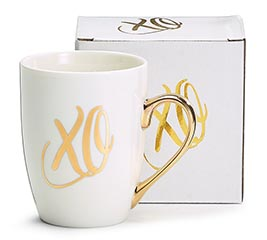 MUG 12OZ WHITE WITH GOLD X AND O