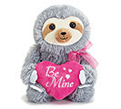 "8 1/2"" BE MINE SLOTH GRAY FUR PINK HEART"
